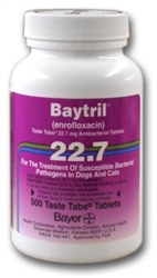 Baytril 22.7mg Taste Tabs, 500 Tablets