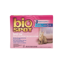 Bio Spot Spot On Flea & Tick Control for Cats and Kittens Under 5 lbs 3 Months