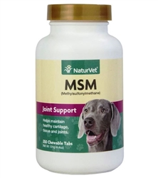 NaturVet MSM (Methylsulfonylmethane) Joint Support For Dogs, 250 Chewable Tablets