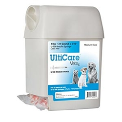 "UltiCare VetRx Insulin Syringe U-100 1/2 cc, 31 ga. x 5/16"",  UltiGuard Dispenser, Sharps Container, 50 Syringes"