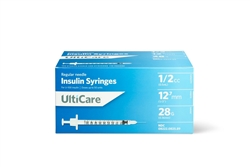 "UltiCare Insulin Syringe U-100 1/2 cc, 28 ga. x 1/2"", 100/Box"