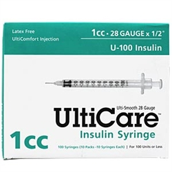 "UltiCare Insulin Syringe U-100 1 cc, 28 ga. x 1/2"", 100/Box"