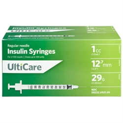 "UltiCare Insulin Syringe U-100 1 cc, 29 ga. x 1/2"", 100/Box"