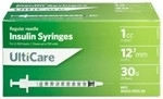 "UltiCare Insulin Syringe U-100 1 cc, 30 ga. x 1/2"", 100/Box"