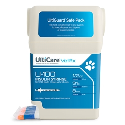 "UltiCare UltiGuard Insulin Syringe U-100 1/2 cc, 31 ga. x 5/16"", Syringe Dispenser and Sharps Container, Box of 100"