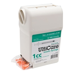 "UltiCare UltiGuard Insulin Syringe U-100 1 cc, 31 ga. x 5/16"", Syringe Dispenser and Sharps Container, Box of 100"
