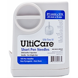 "UltiCare UltiGuard Short Pen Needles, 31 ga. x 5/16"", Dispenser and Sharps Container, Box of 100"