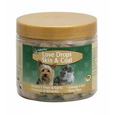 NaturVet Love Drops Skin & Coat, 100 Chewable Tablets