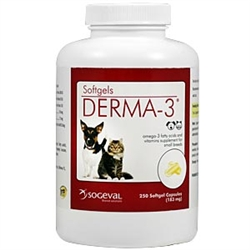 Derma-3 Softgels For Cats and Small Breeds, 250 Capsules