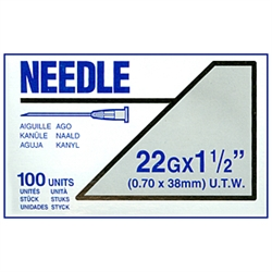 "Terumo Needles 22G X 1-1/2"" (Ultra Thin Wall) 100/Box"