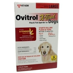 Ovitrol X-Tend Flea & Tick Spot On For Large Dogs 56-80 lbs, 3 Months