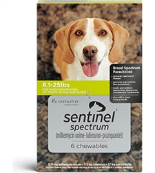 Sentinel Spectrum Chewables For Dogs 8.1-25 lbs, 6 Pack
