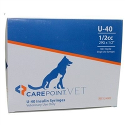 "CarePoint VET U-40 Insulin Syringe 1/2cc, 29G x 1/2"", 100/Box"