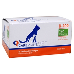 "CarePoint VET U-100 Insulin Syringe 1cc, 29G x 1/2"", 100/Box"