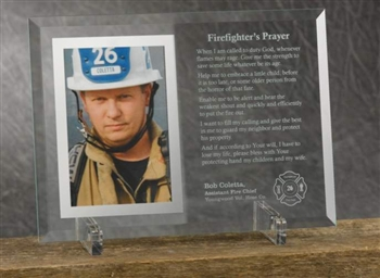 Engraved Firefighter's Prayer Glass Picture Frame