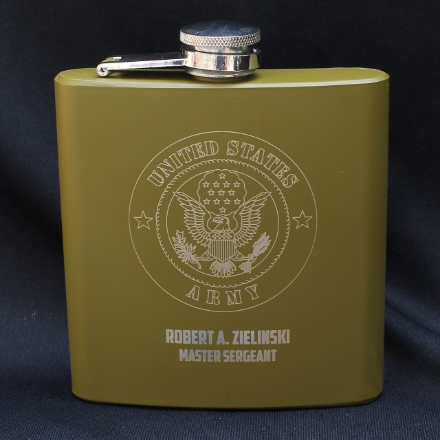Personalized Engraved Army Flask in Military Green