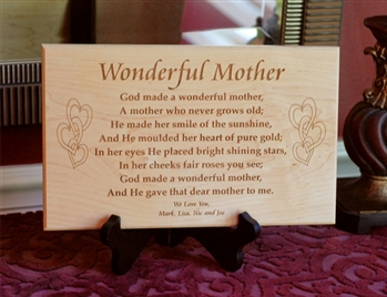 Engraved Solid wood Mother's Day Plaque