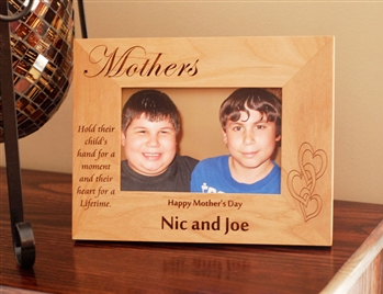 "4"" X 6"" Personalized Mother's Day Picture Frame - Natural Hardwood"