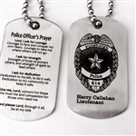 Engraved Police Officer's Prayer Dog Tags