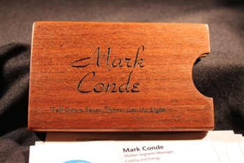 Custom Crafted and Personalized Wood Business Card Holder