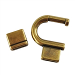 Antique Brass Plate Magnetic Clasp - Large Horseshoe 10mm