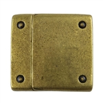 Antique Brass Plate Magnetic Clasp - Rivet 20mm