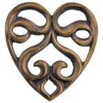 Brass Stamping - Scrolled Heart Element Pkg - 10