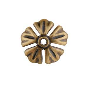 Bronze Plate Bead Cap - Carved Flower 11mm Pkg - 2