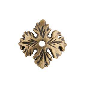 Bronze Plate Bead Cap - Leaf 9mm Pkg - 2