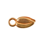 Bronze Crimp End Cap - Heart Leaf 1.5mm