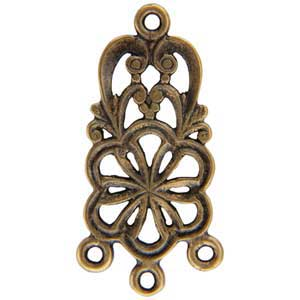 Bronze Plate Connector - Flower Heart - 12mm x 25mm Pkg - 2