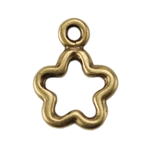 Bronze Plate Charm - Open Flower 11mm x 9mm Pkg - 1