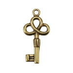 Bronze Plate Charm - Key Medium 21mm x 10mm Pkg - 1