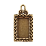 Bronze Plate Pendant - Fancy Frame 22mm x 11.5mm Pkg - 1