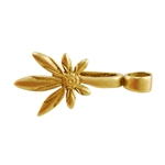 Bronze Plate Pinch Bail - Asymmetric Daisy 16mm x 34mm Pkg - 2