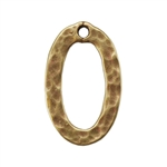 Bronze Plate Charm - Hammered Oval 15mm x 9mm Pkg - 1