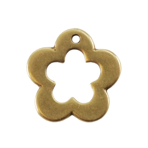 Bronze Plate Charm - Flower 12.5mm Pkg - 1