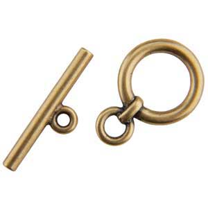 Bronze Plate Toggle Clasp - Plain Circle 20mm x 22.5mm - 1 Set