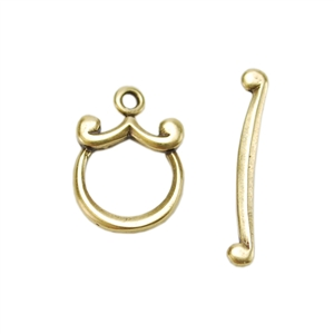 Bronze Plate Toggle Clasp - Mini Curl