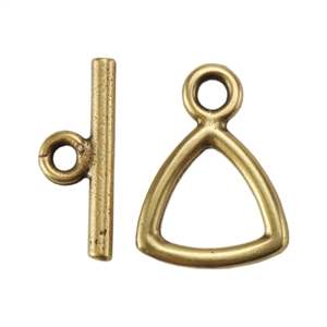Bronze Plate Mini Toggle Clasp - Trillion 12mm - 1 Set