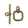 Bronze Plate Mini Toggle Clasp - Roped Square 11mm x 15mm - 1 Set