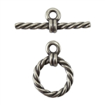 Bronze Plate Mini Toggle Clasp - Roped Circle 11.5mm x 16mm - 1 Set