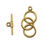Bronze Plate Mini Toggle Clasp - 3 Rings 9mm