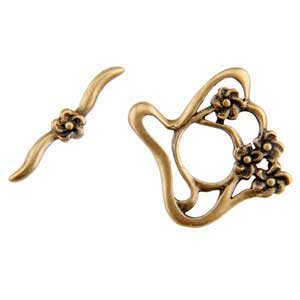 Bronze Plate Toggle Clasp - Designer Flower 24mm x 22mm - 1 Set