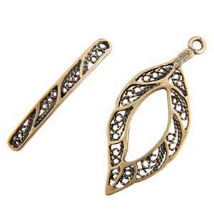 Bronze Plate Toggle Clasp - Lacy Leaf 36mm x 27mm - 1 Set