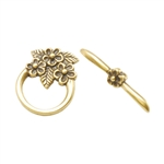 Bronze Plate Mini Toggle Clasp - Floral Bouquet