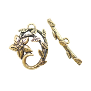 Bronze Plate Mini Toggle Clasp - Dogwood 18mm x 21.5mm - 1 Set