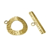 Bronze Plate Toggle Clasp - Textured Ring