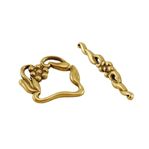Bronze Plate Toggle Clasp - Victorian Twist 20mm x 30mm - 1 Set