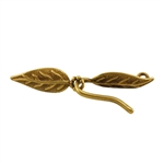 Bronze Plate Hook & Eye Clasp - Paired Leaves